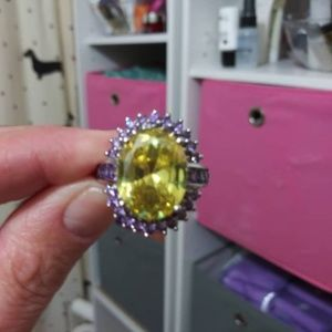Sterling silver citrine and amethyst ring